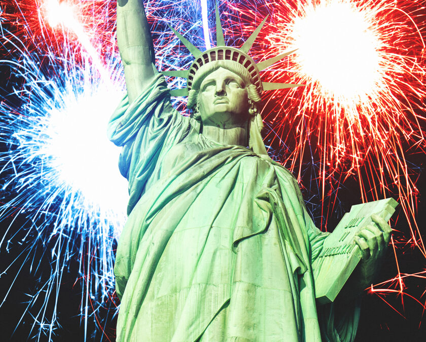 Liberty Statue with Fireworks